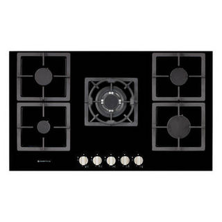 Parmco 900mm Hob, 4 Burner + Wok, Gas, Black Glass
