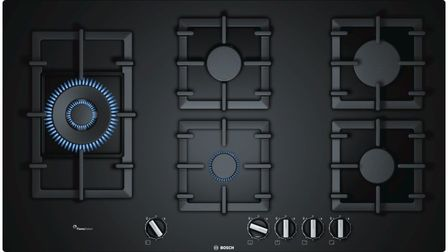 Serie | 6 90 cm Gas Cooktop, Tempered Glass, Black