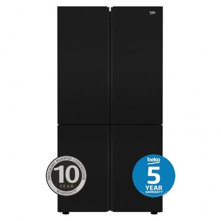Beko 626 L Black Glass Four Door Fridge with Internal Water & Automatic Ice