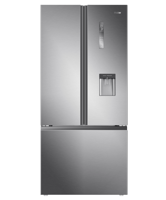 Haier French Door Refrigerator Freezer 514L, 79cm, Water, Satina Finish