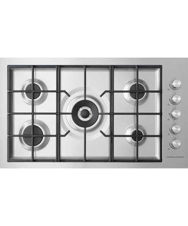 Fisher & Paykel Gas on Steel Cooktop 90cm, 5 Burner Flush Fit