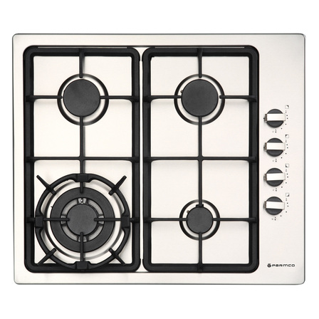 Parmco 600mm Gas hob, 3 Burner + Wok, Stainless Steel